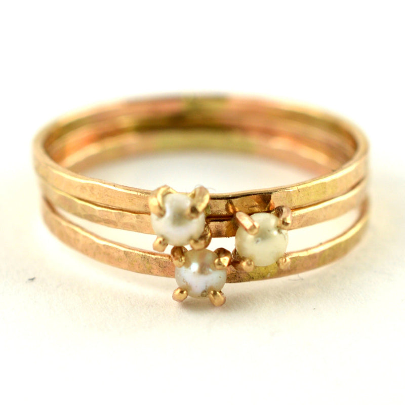 delicate cream pearl ring, aquarian thoughts jewelry