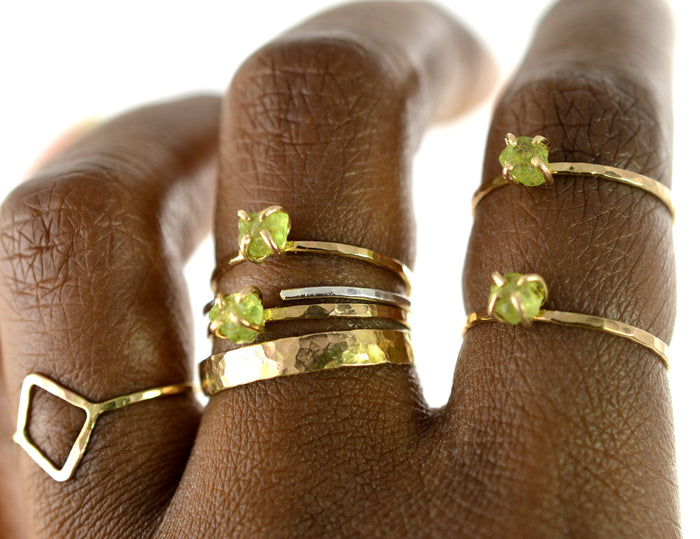 Raw Peridot Stacking Ring