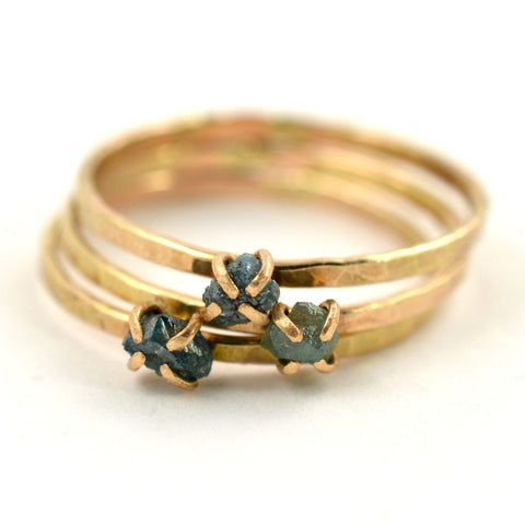 delicate rough blue diamond ring. Aquarian Thoughts Jewelry