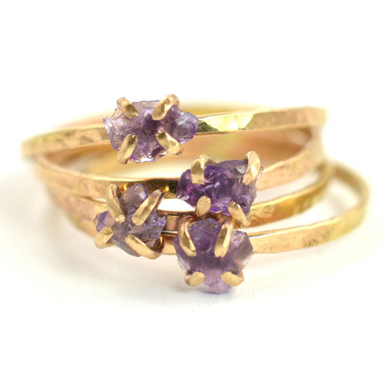Delicate Raw Amethyst Ring