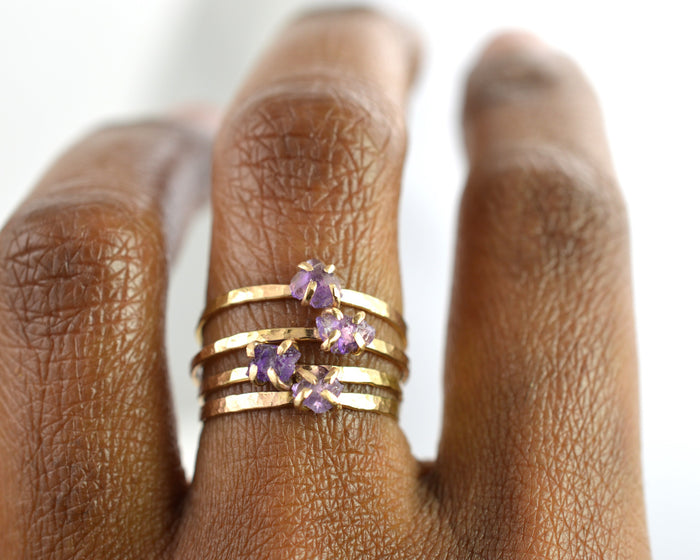 delicate rough amethyst ring. Aquarian Thoughts Jewelry