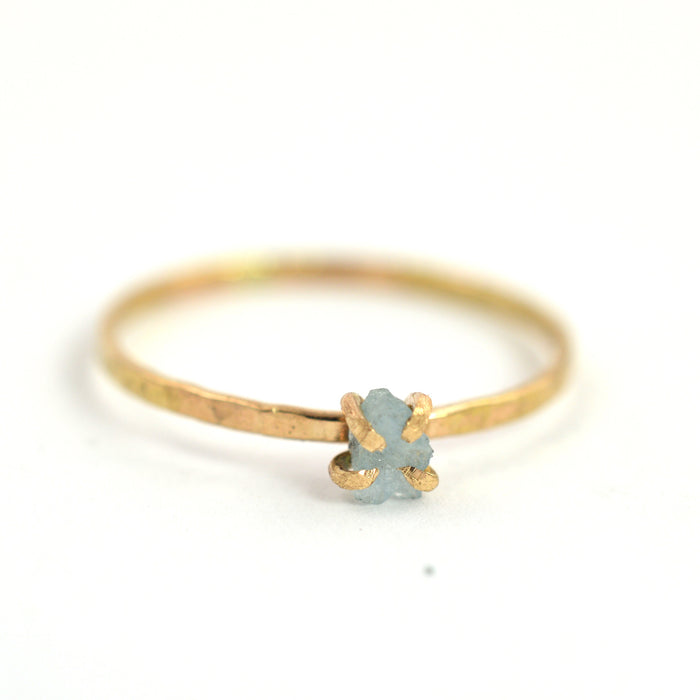 delicate rough aquamarine ring. Aquarian Thoughts Jewelry