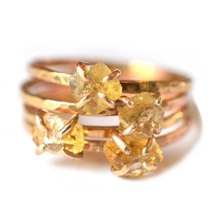 Delicate Raw Citrine Ring