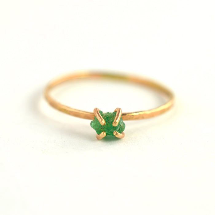 Raw Solitaire Emerald Ring