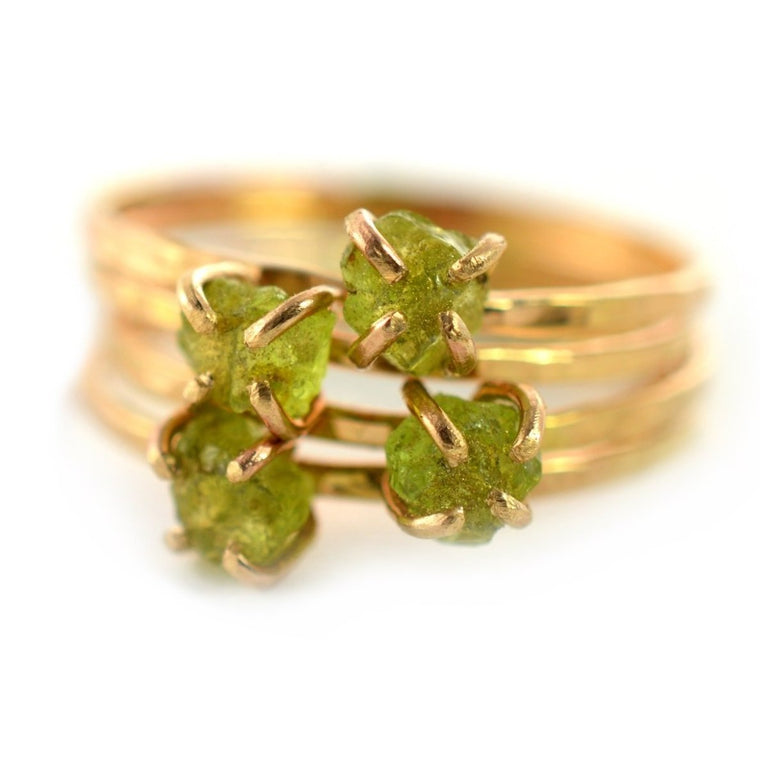 Delicate Raw Peridot Ring