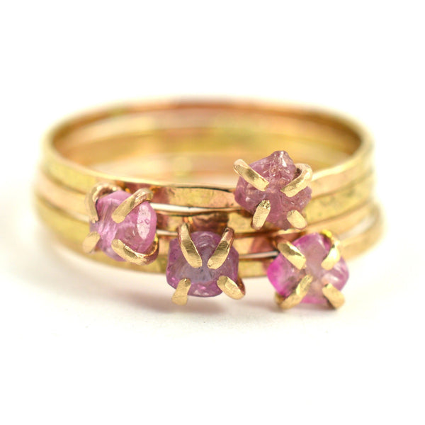 Delicate raw pink sapphire ring, aquarian thoughts jewelry