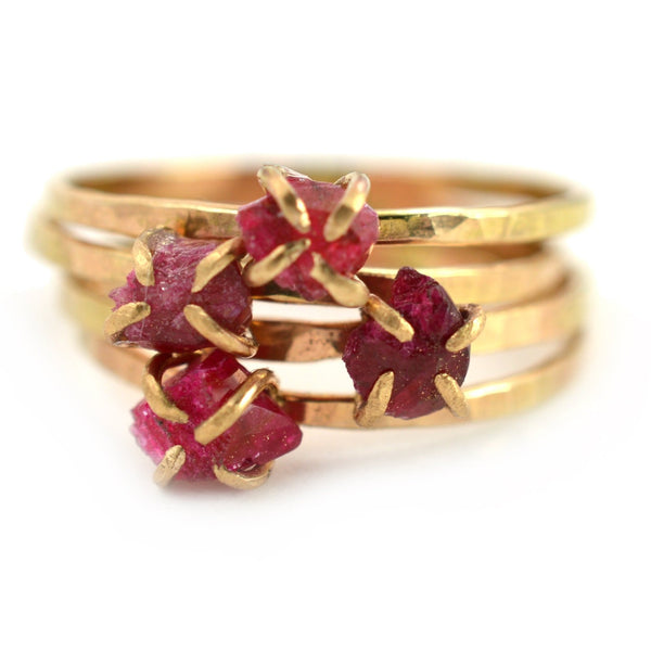 Delicate raw ruby ring, aquarian thoughts jewelry
