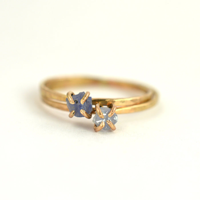 Delicate raw blue sapphire ring, aquarian thoughts jewelry