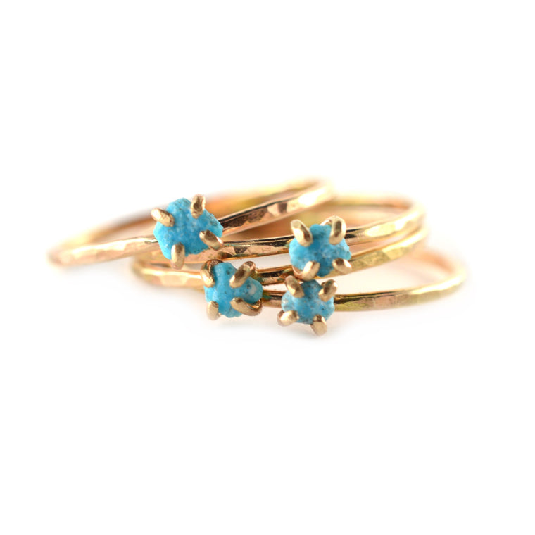 Delicate Raw Turquoise Ring