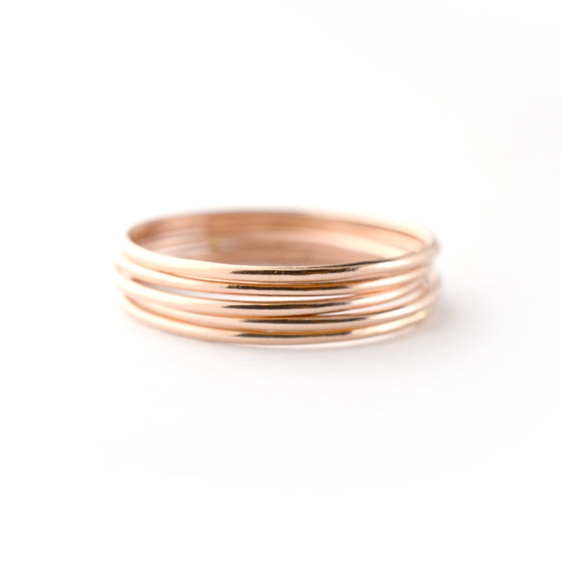 Skinny Rose Gold Ring Threads - Set of 5