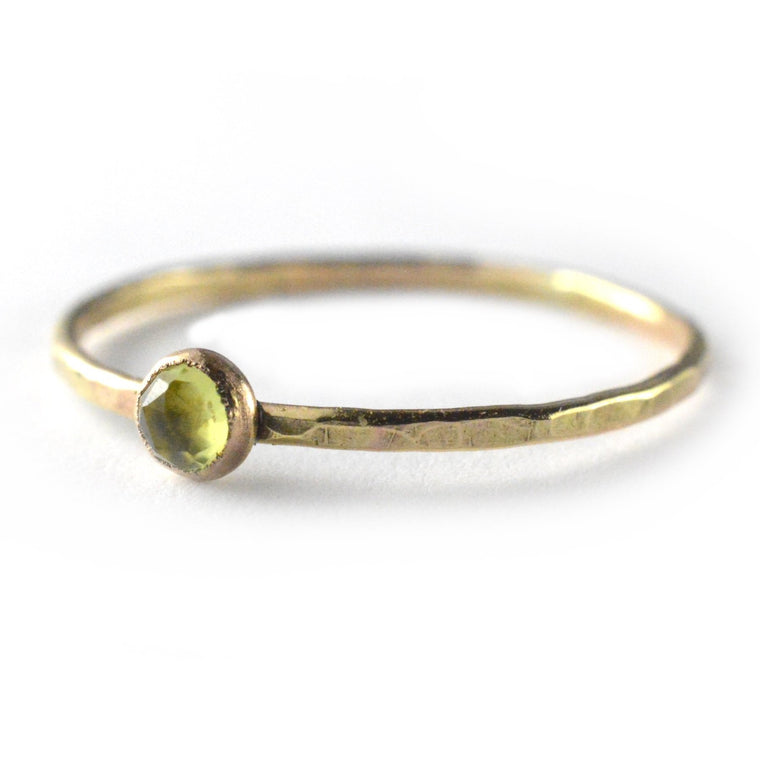 Rose Cut Peridot Ring