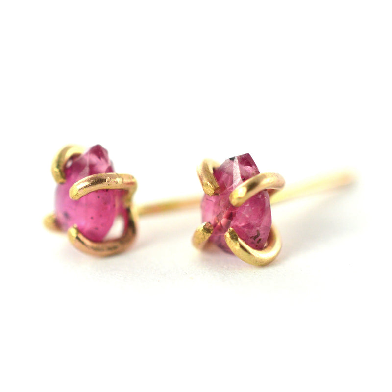 raw ruby gemstone earrings