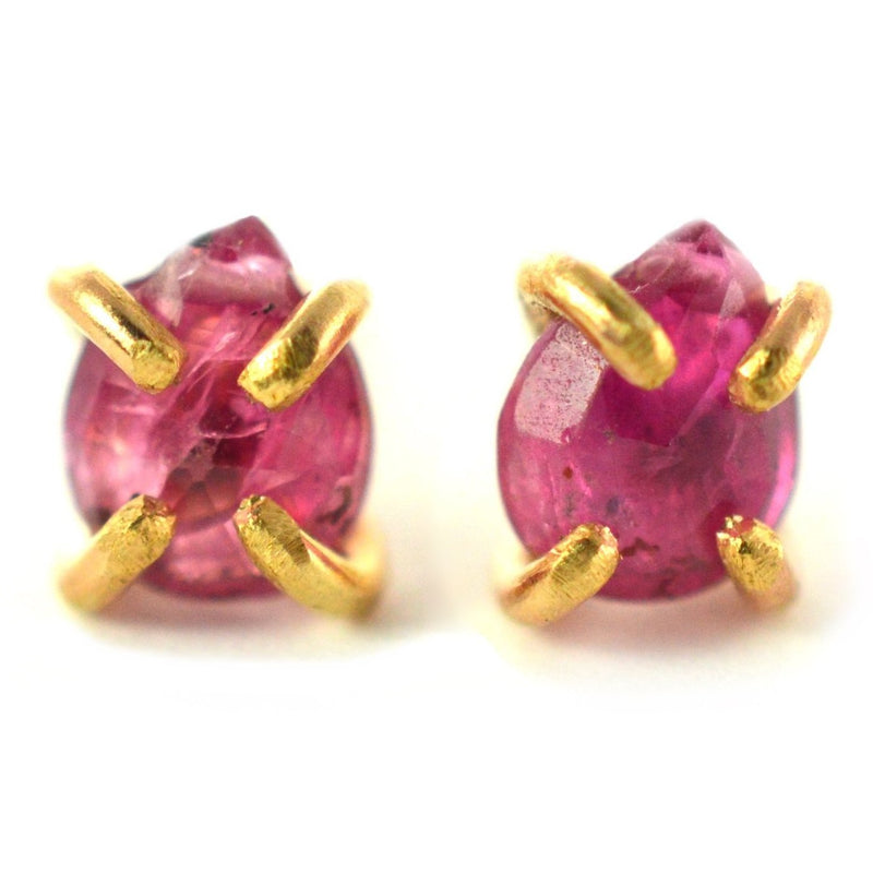 ruby stud earrings, july birthstone