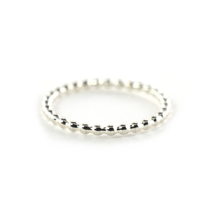 Silver Beaded Stacking Ring
