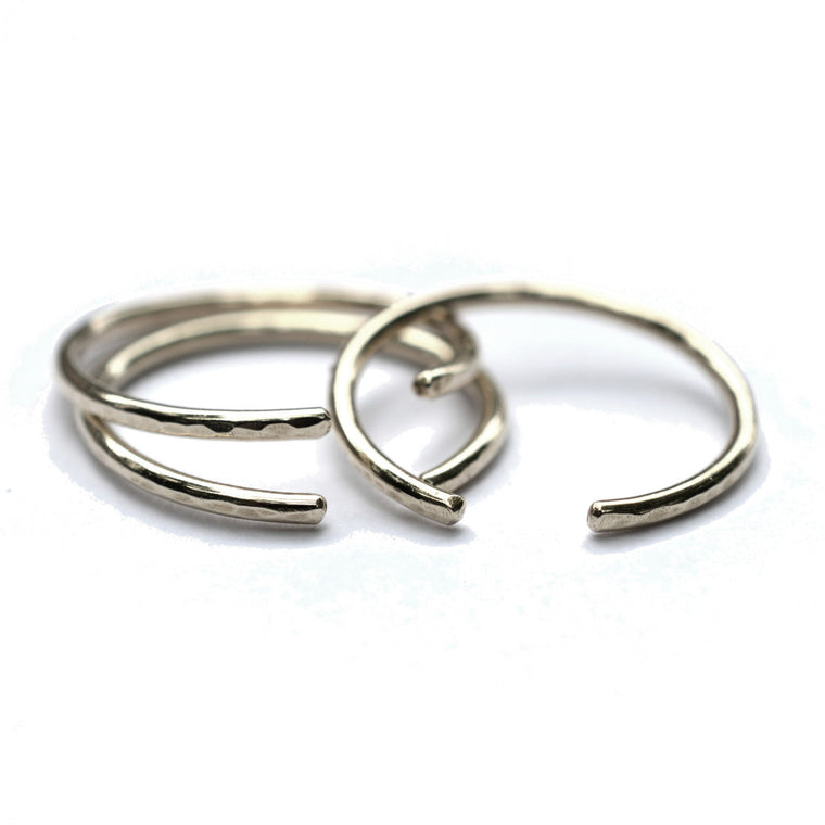 Silver Hammered Cuff Rings