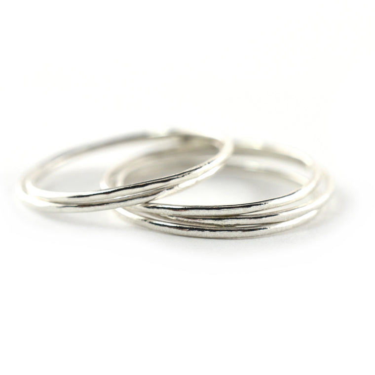 Skinny Silver Ring Threads - Set of 5