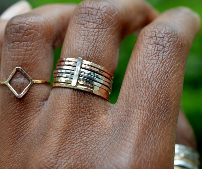 Mixed Metal Stackable Ring Set of 6