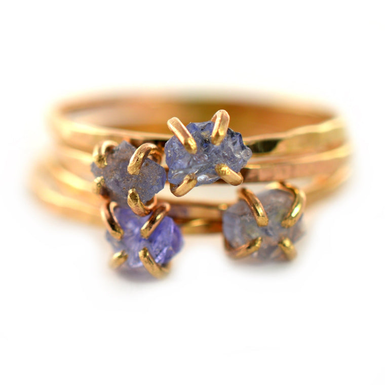Delicate Raw Tanzanite Ring