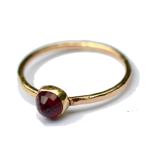 Dainty Gold ruby ring by aquarian thoughts jewelry