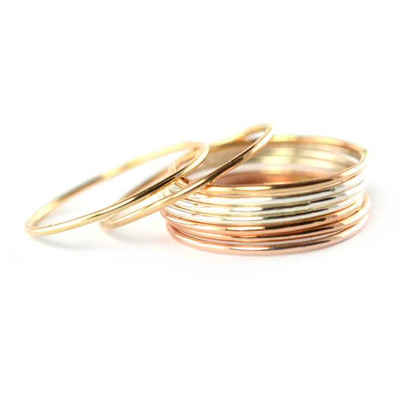 Skinny Gold Ring Threads - Set of 5