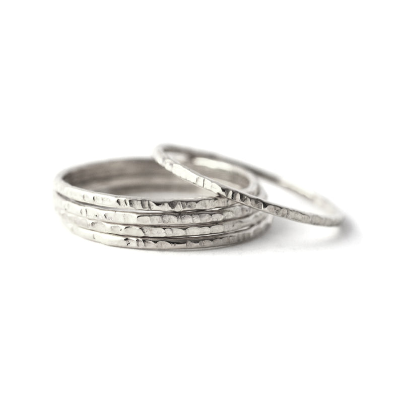 """Tree Bark"" Silver Stacking Ring - Set of 3"
