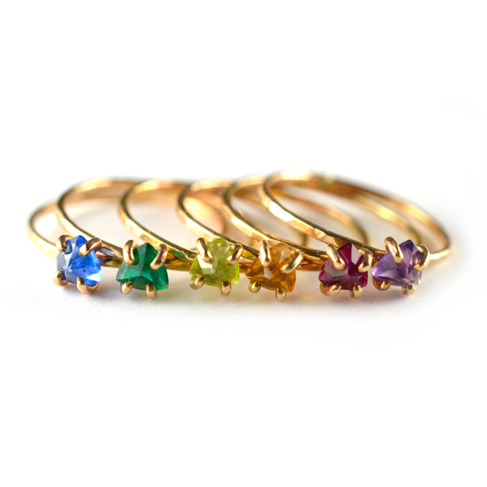 Trillion Cut Gemstone Ring