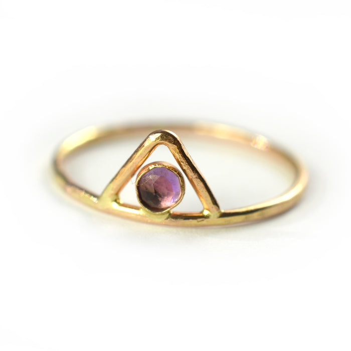 Triangle Rose Cut Gemstone Ring