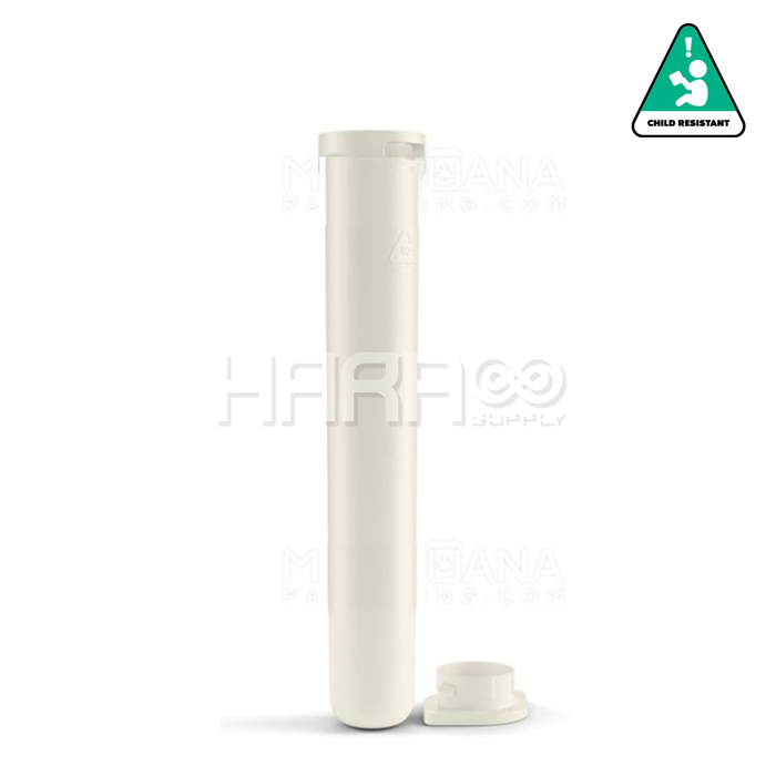 "Child Resistant & Sustainable | 100% Recyclable ""Line-up Arrow"" White Pre-Roll Tubes 
