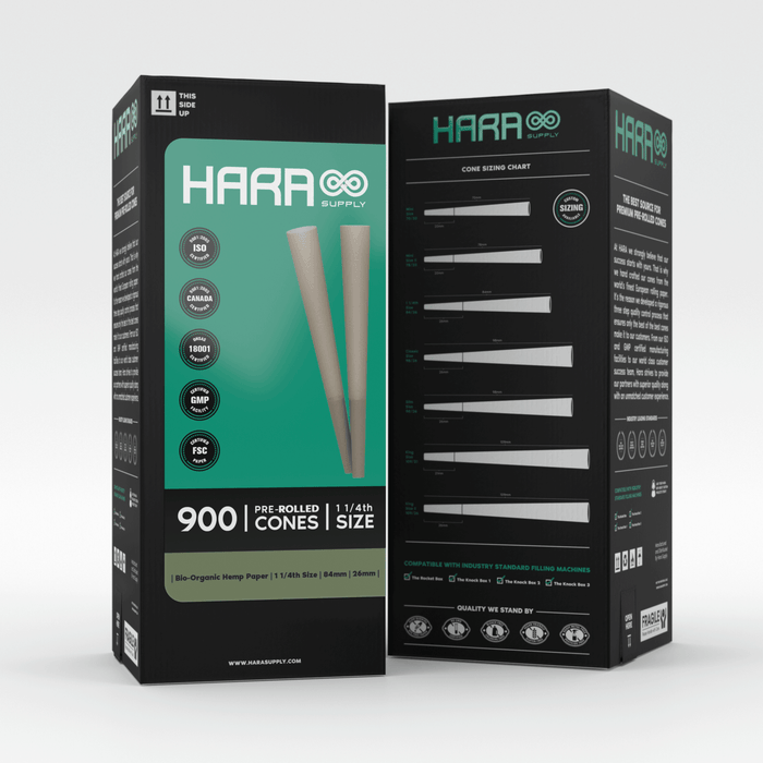 Hara Supply Bio-Organic Hemp Pre-Rolled Cones 1 1/4th 900 Count (84mm/26mm)