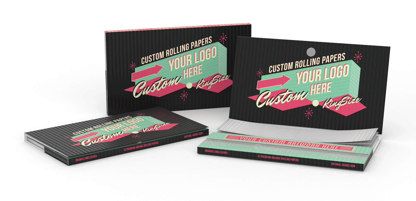 Custom Rolling Paper - With Tips/Crutches Magnetic Strip Enclosure Any Size