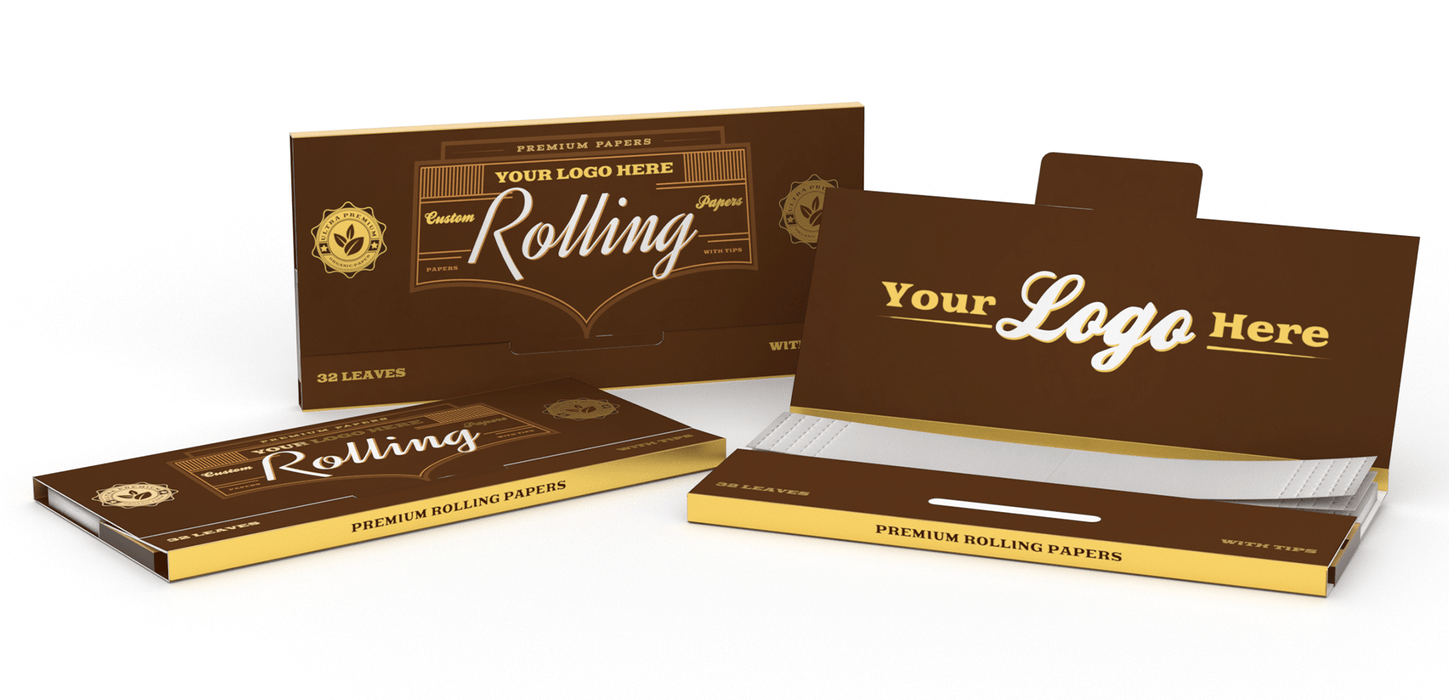 Custom Rolling Paper - With Tips/Crutches Reversible Tray Enclosure Any Size
