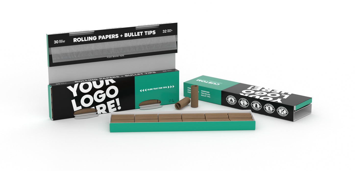 Custom Rolling Paper - With Bullet Tips Tray Enclosure KSS Size