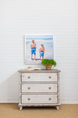 Distressed White Finish Chest with Zinc Top Styled in Home with Art