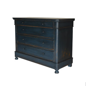 Rubbed Black Chest of Drawers with Iron Pulls Corner