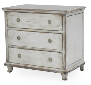Distressed White Finish Chest with Zinc Top Shown At an Angle