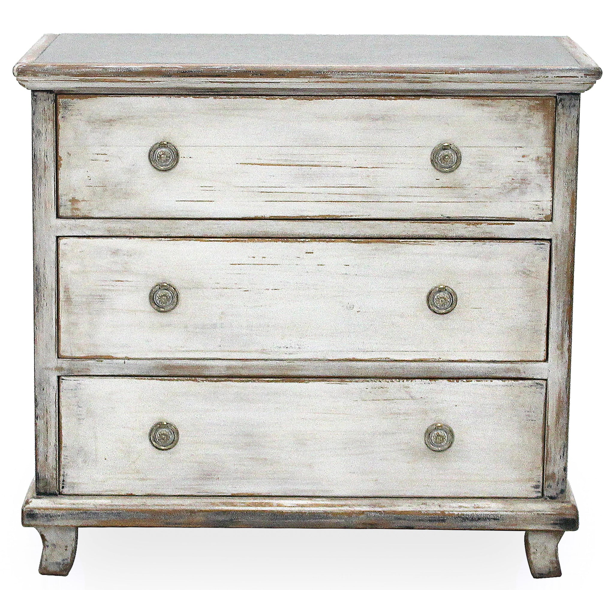 Distressed White Finish Chest with Zinc Top