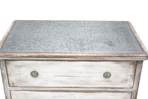 Zinc Top on Distressed White Finish Chest