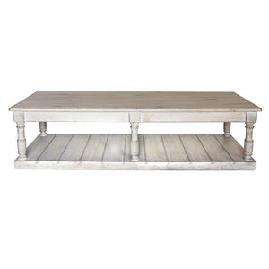 White Washed/Gray Tone Rectangular Cocktail Table