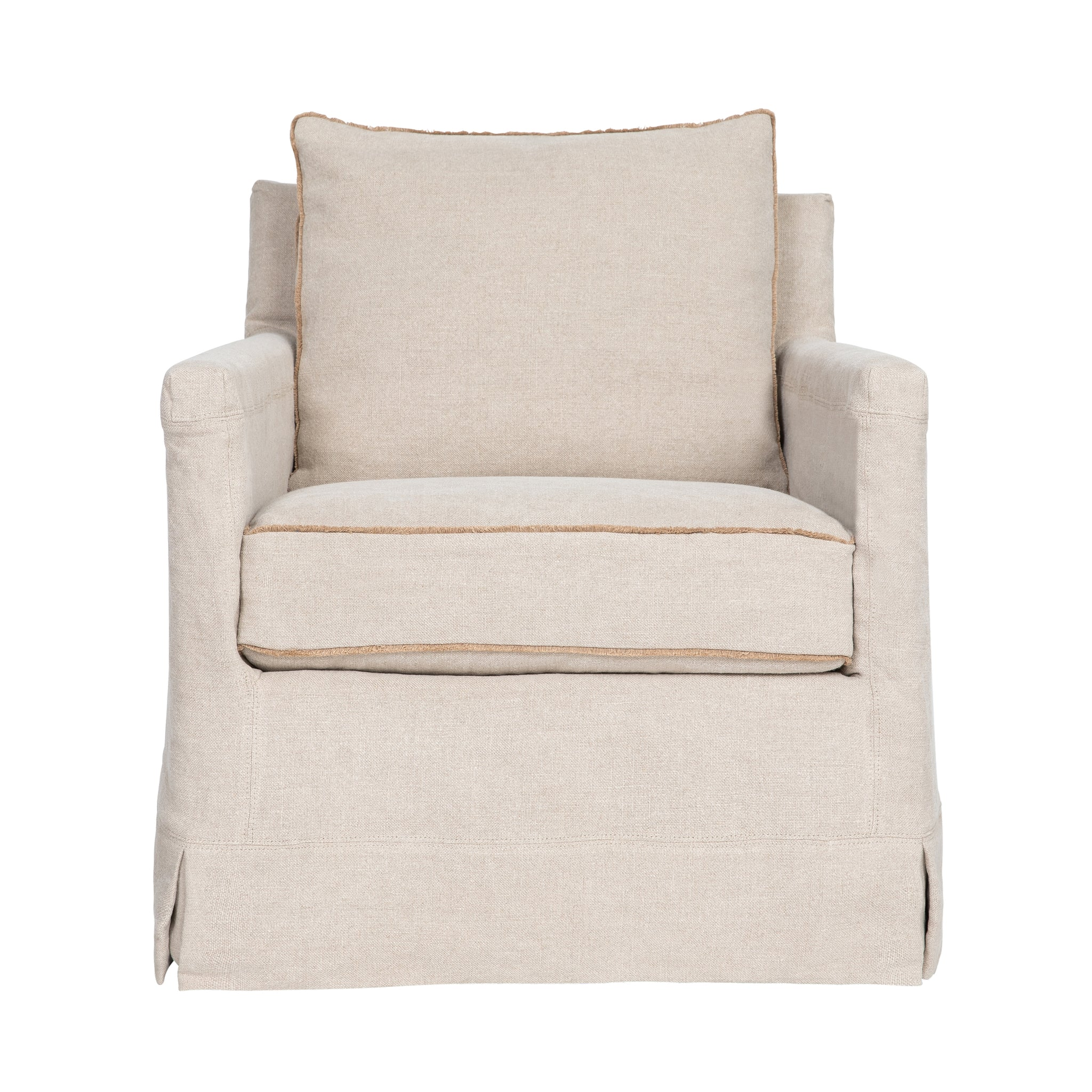 Peyton Slipcovered Swivel Chair
