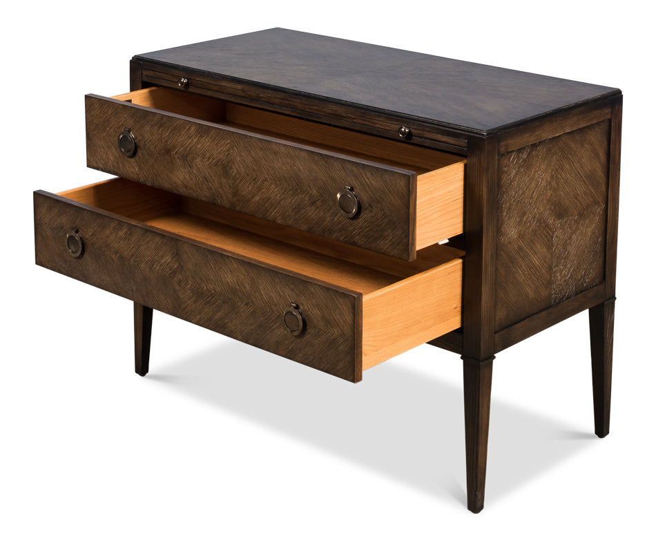 Herringbone Pattern Double Drawer Chest with Brass Accents Showing Open Drawers