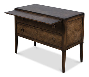 Herringbone Pattern Double Drawer Chest with Brass Accents and Pull Out Table