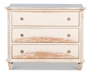 Pale White Chest of Three Drawers with Small Bun Feet