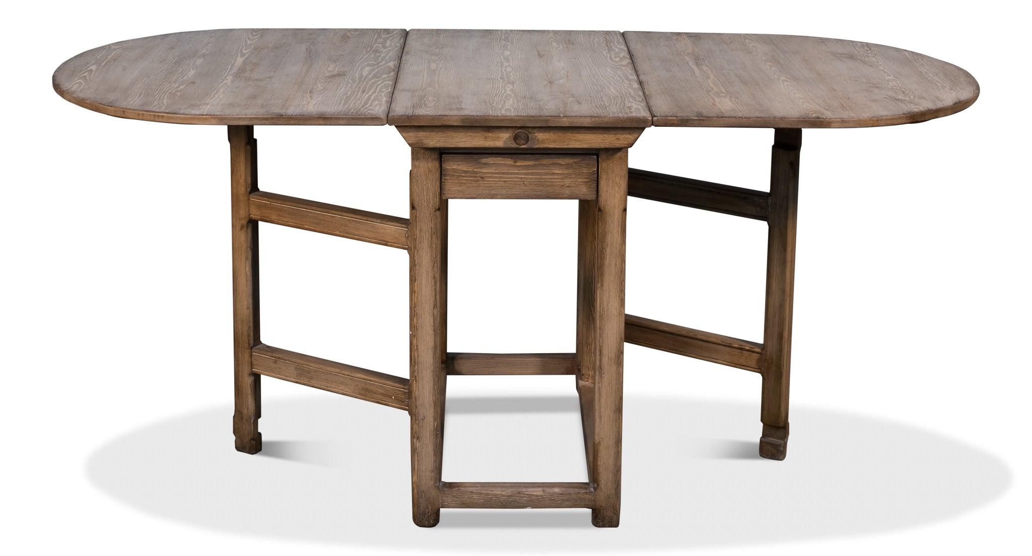 Natural Drop Leaf Wood Table Expanded