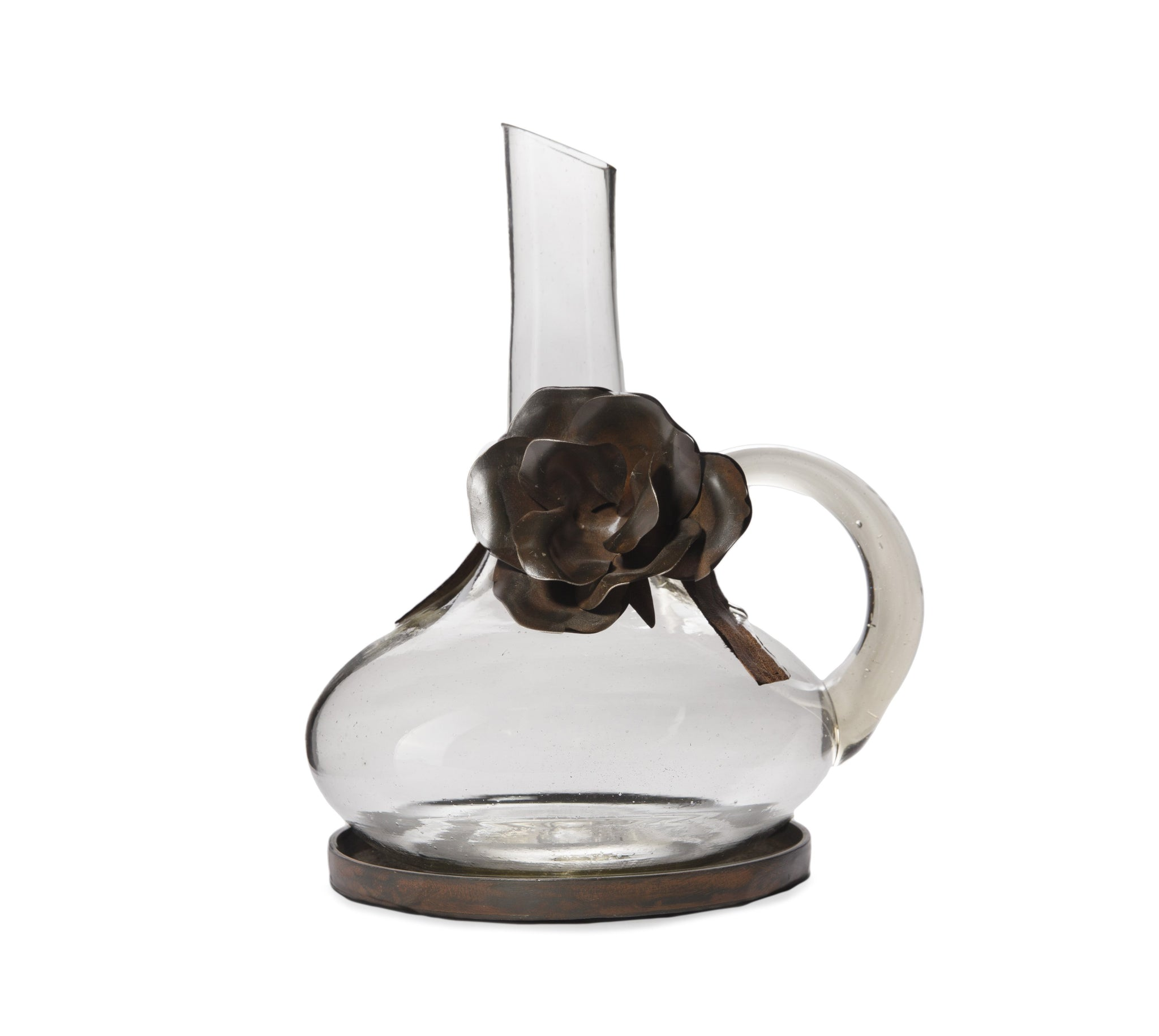Mouth Blown Glass Decanter with Iron Rose Detail
