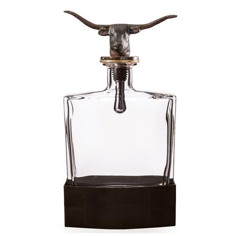 Longhorn Decanter with Clear Glass and Iron Base