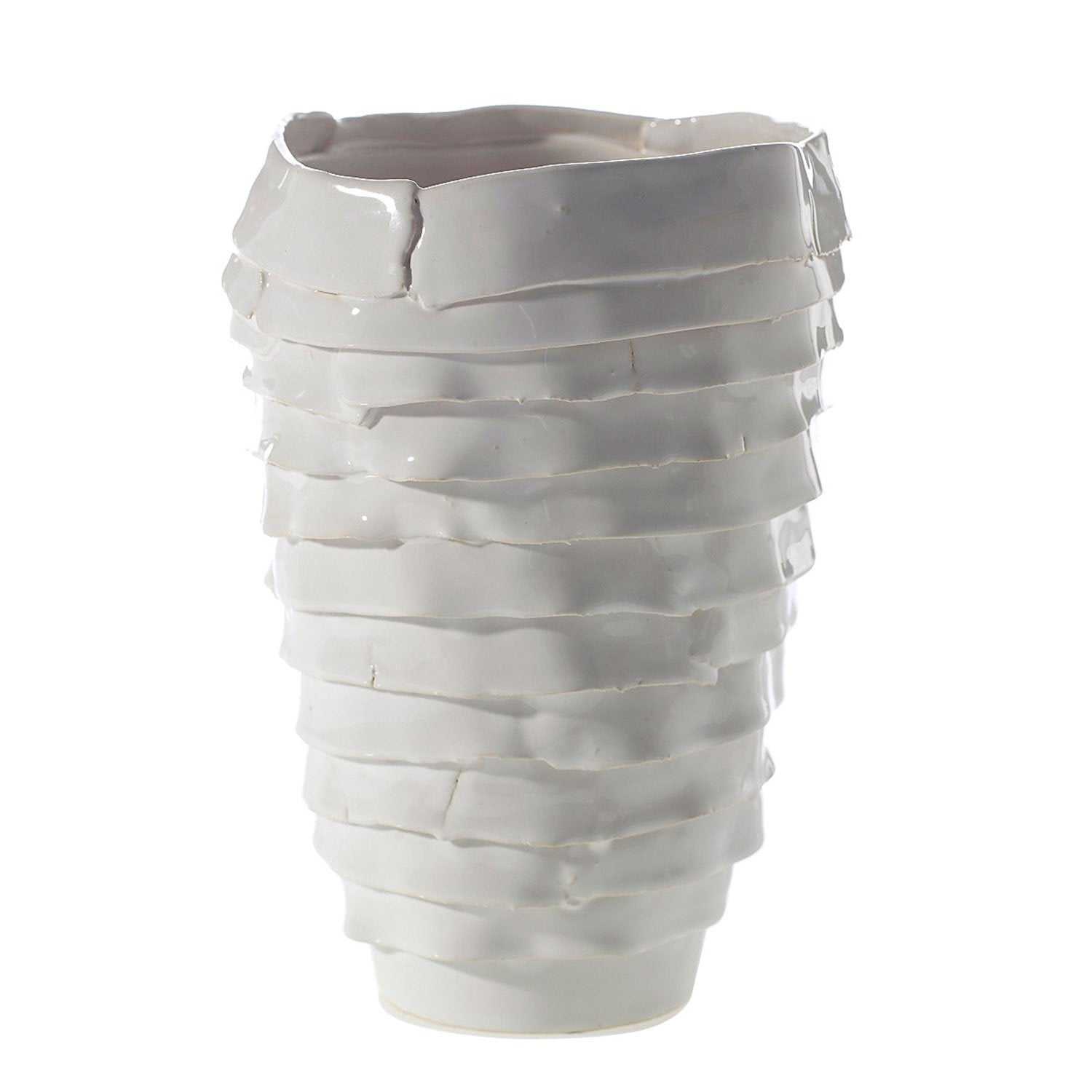 Ceramic White Vase with Waterfall Design