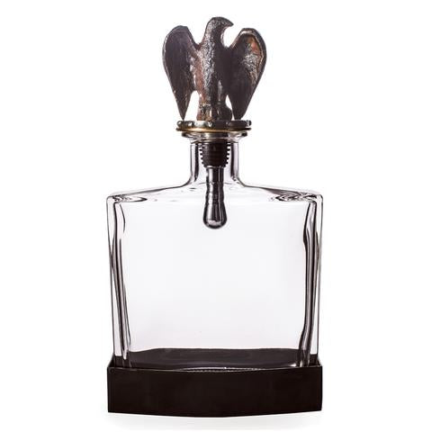 Clear Glass Eagle Decanter with Dual Purpose Cork and Screw and Iron Base