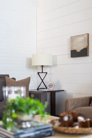"Handsome ""X"" Lamp in Bronze Finish with Linen Shade"