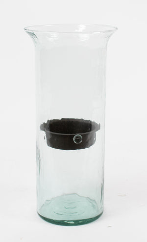 Glass Hurricane with Rust Insert