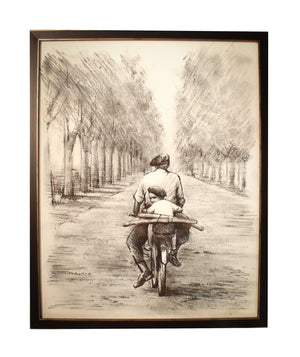Bike Ride in Italy Black and White Artwork